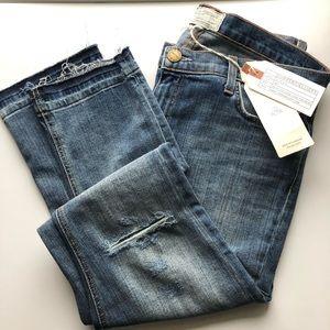 Current/Elliott Cropped Straight Jeans w/Raw Hem